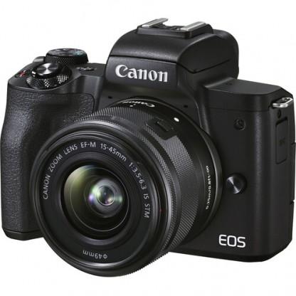 Canon Eos M50 Mark II 15-45  Nera – 2/4 Anni Garanzia Italia-Lingua Italiana-Pronta Consegna